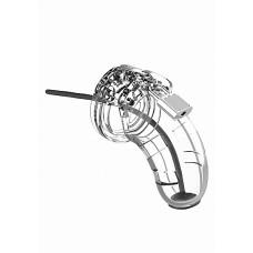 """Man Cage - Model 15 - Kuklås 3,5"""" med Penisplugg - Transparent"""