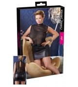 Sexy minikjole med gjennomsiktig overdel  Plus size- Sort