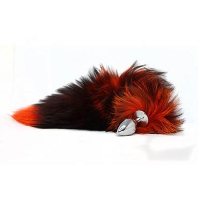 BQS - Buttplug med sort og oransje hale