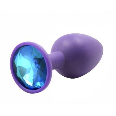BQS - Lilla Silikonbuttplug med Krystall - Blå