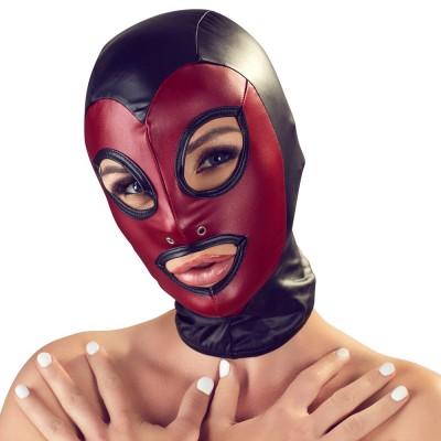 Bad Kitty - Sort og rød maske med røffe detaljer